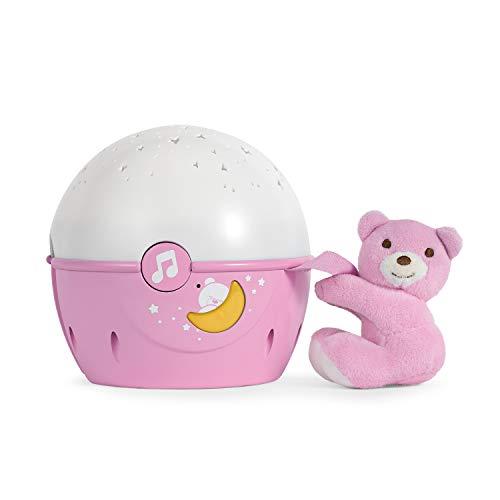 Chicco Next2Stars - Proyector con efecto de luces, estrellas y melodías para cunas y mesilla, color rosa