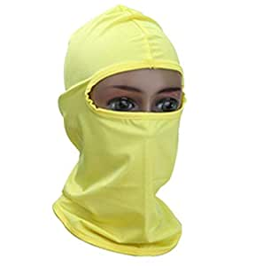 Unisex Yellow lycra balaclava neck warmer for karting, motorcycles, winter, skiing, biking, paintball etc