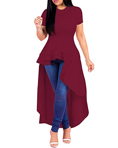 Womens Bodycon Maxi Dresses Solid Ruffle High Low Irregular Short Sleeve Blouse Tops Shirt Dress (Large, Red ()