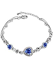 Swarovski Elements 18K White Gold Plated Bracelet Encrusted with Blue Swarovski Crystals, SWR-327