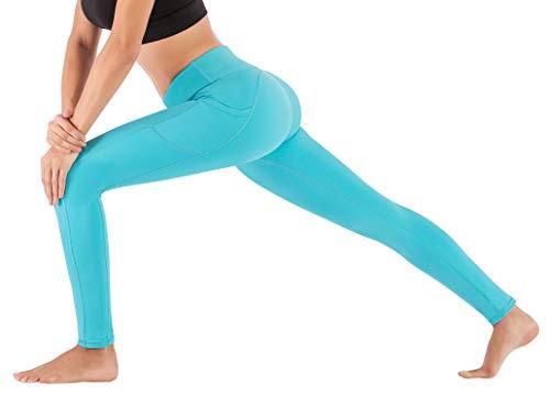 IUGA High Waist Yoga Pants Shorts with Pockets Tummy Control Workout Yoga Shorts Side Pockets (7840 Light Blue, Small) by IUGA (Image #3)