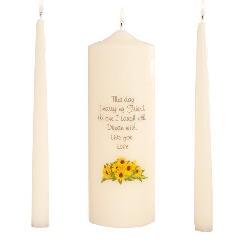 "Celebration Candles Wedding Unity Candle Set, with 9-inch Pillar with Sunflower Motif and ""This Day I Marry my Friend\"" Verse, with 10-inch Taper Candles, Ivory"