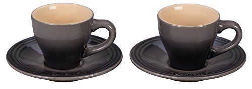 Le Creuset PG8001-097F Stoneware Espresso Cups and Saucers, Set of 2, Oyster