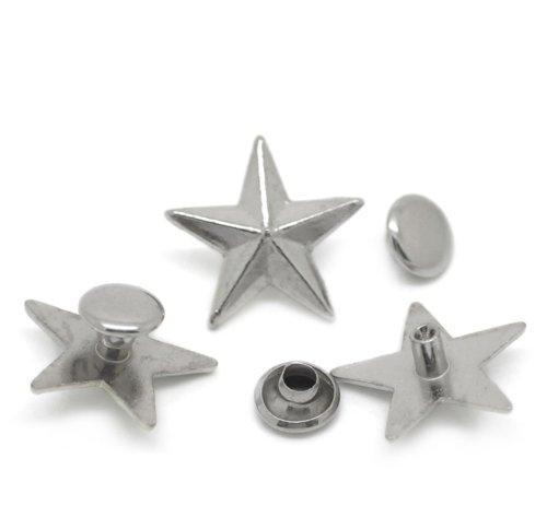 Mm 7 Spacer Star (Housweety 50 Sets Silver Tone Star Spike Rivet Studs Spots 16mmx15mm(5/8