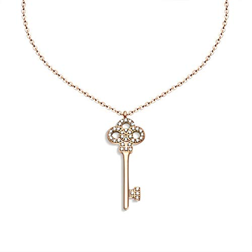 Chenghao 18K Gold Plated 316L Stainless Steel Lucky Key Pendant Necklace Crystal (ch000003) (Rose Gold)