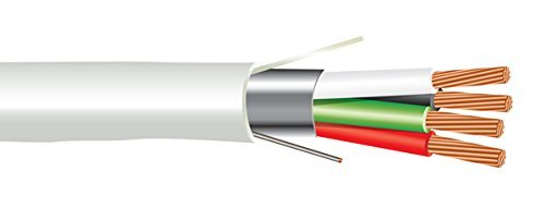 Str Plenum - 18 AWG 4/C Str CMP Plenum Rated Shielded Sound & Security Cable - 1000 Feet - EWCS Spec - Made in USA!
