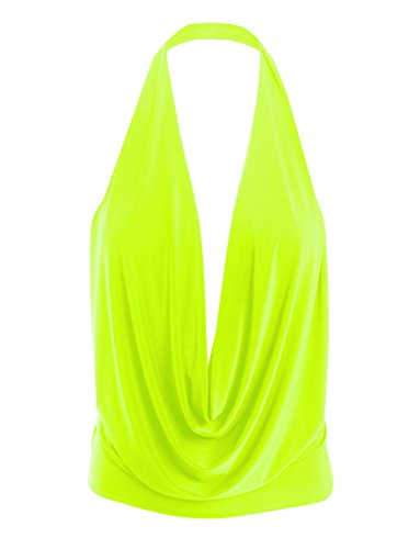 Tunic Cut with Stretch Womens Neonlime Low Top Halter Lightweight Sexy 7qFp6xX
