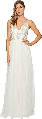 Adrianna Papell Women's Bead Bodice Bridal Gown With Mesh Ball Skirt Ivory Multi (Beaded Spaghetti Strap Skirt)