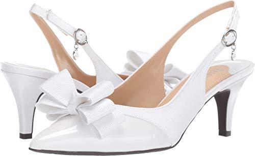 J.Renee Womens Gabino Pointed Toe Slingback Classic, White/White, Size 10.5