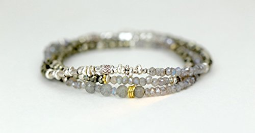 (Labradorite Gemstone Mixed Metal Sterling Silver 3 Strand Wrap Bracelet)