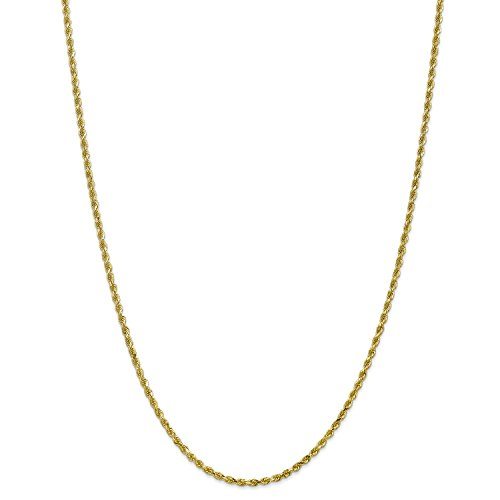 7' 2.5 Mm Diamond (Roy Rose Jewelry 10K Yellow Gold 2.5mm Handmade Diamond-cut Rope Chain Bracelet ~ Length 7'' inches)
