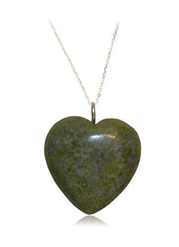 Irish Connemara Marble: Sterling Puffed Heart Pendant Necklace
