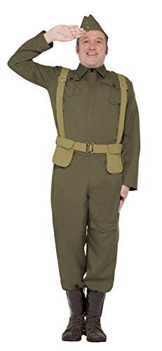 Smiffys Men's WW2 Home Guard Private Costume, pants Ankle Covers, Jacket, Hat and Harness Belt, Wartime 40's, Serious Fun, Size L, 22132 for $<!--$45.75-->