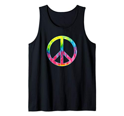Hippie Colorful Tie Dye Peace Sign  Tank Top