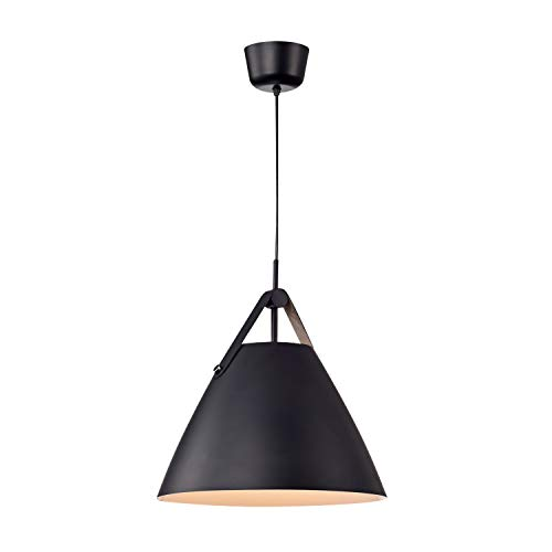 Hyperikon Pendant Light, 14-inch Black Ceiling Light Fixture Iron Cone with Leather Strap, Hardwired Modern Pendant Lamp, E26 One-Light Fixture, Residential, Kitchen, UL - No Bulb Included (Phoebe) (Cone Light Fixture)