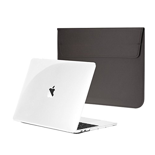 TOP CASE - Essential 2 in 1 Crystal Clear Hard Case + Gray Leather Sleeve Bag Compatiable With MacBook Pro 13'' (13'' Diagonally) with/without Touch Bar A1989,A1706 / A1708(Release 2016,2017,2018) by TOP CASE