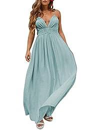 a28840006 Women s Summer Spaghetti Strap Halter Deep V Neck Backless Long Beach Party  Maxi Dress