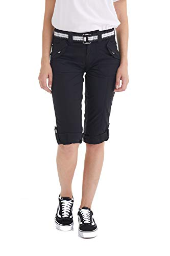 Suko Women's Cargo Capri Pants Adjustable Length Stretchy 17050 Black 10 ()