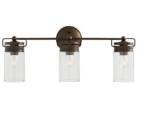 allen + roth 3-Light Vallymede Aged Bronze Bathroom Vanity Light Clear Glass .#GG4346 43ETR98-Y299488 - Eclectic jar-style clear glass shades are a simple, attractive way to update your decor Light is fully dimmable, so you can create your desired ambiance Simple and attractive way to update your room decor - bathroom-lights, bathroom-fixtures-hardware, bathroom - 31xnnBFCh5L -