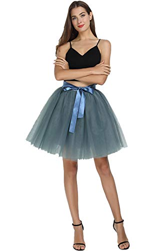 URVIP Women Knee Length Bowknot 6-Layered Tulle Party Prom Skirt One Size Smoke -