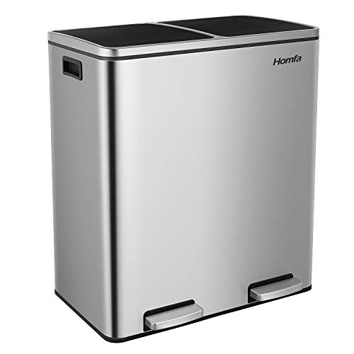 Homfa Dual Step Trash Can, 16 Gallon (60L) Fingerprint Proof Stainless Steel Rubbish Bin, 2 x 30L Classified Recycle Garbage Bin with Plastic Inner Buckets and Hinged Lids, Soft Closure