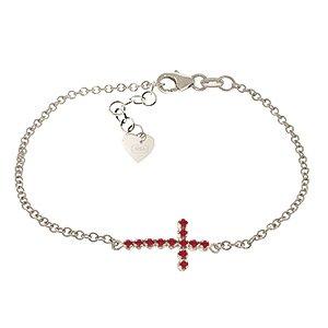 QP bijoutier de rubis naturels Bracelet en or blanc 9 carats-rond 4994W EGL