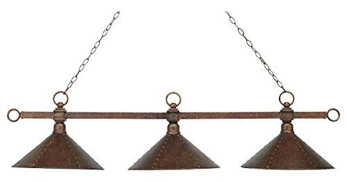 Designer Classic 3 Light LED Billiard in Antique Copper with Hand Hammered Iron - Iron Hand Hammered Shades