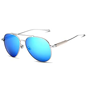 VEITHDIA 6696 Al-Mg Metal Frame Polarized Aviator Sunglasses 100% UV Protection (Silver Frame/Blue Lens, 61)