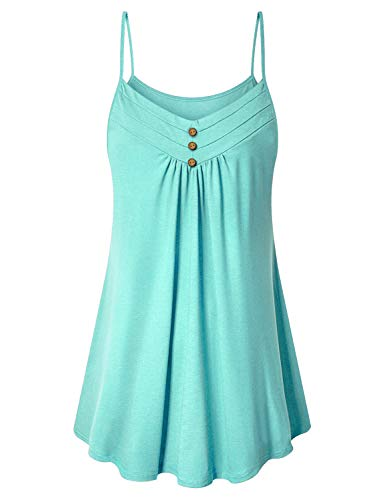 Viracy Women's Summer Button V Neck Pleated Spaghetti Strap Camisole Tank Tops (XX-Large, Light ()