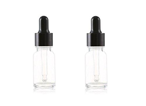 2PCS 5ML Attar Bottle Empty Glass Essence Oil Bottle with Glass Eye Dropper Suitable for Aromatherapy Eye Ear Dropper (5ml, Clear)