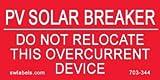 SW Labels Solar Warning Label 703-344 - 10 Pack