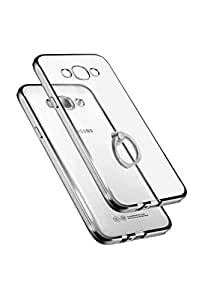 Jinyama for Samsung galaxy J710 / J7 2016 (5.5 inch) Soft Transparent TPU Jelly Protective Case Cover, Clear Back Cover with Finger Grip, Ultra Slim Scratch Resistant Full Back Protection Jelly Skin Case with Ring Grip Backcover - Silver