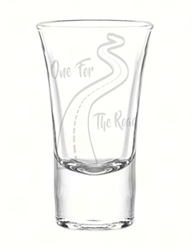 One for The Road 1.75oz Shot Glass, Custom Laser Etched Engraving Groomsman and Bridesmaid Wedding Favor Gift ()