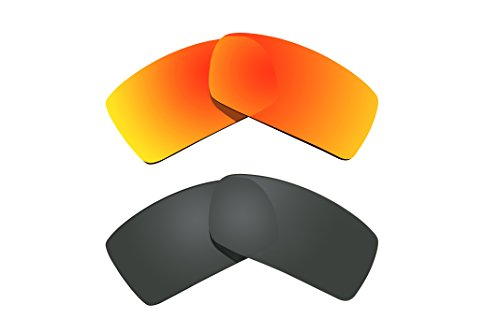 2 Pairs Polarized Replacement Lenses Black & Red for Oakl...