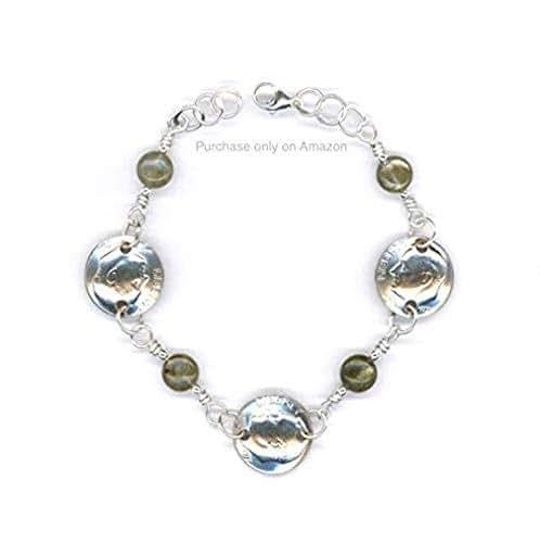 Amazon.com: 40th Birthday Gift For Women 1979 Dime Jewelry With Labradorite Beads Bracelet: Handmade