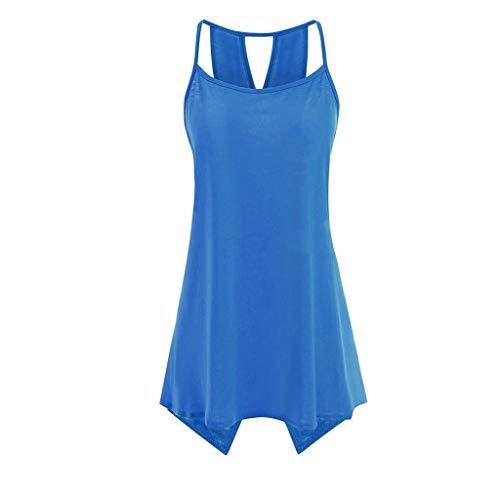 Swarovski T-shirt Tank Top - LYN Star ♪ Women's Short Sleeve Scoop Neck T Shirt Casual Tops Solid Sleeveless Tunic for Leggings Swing Flare Tank Tops Blue