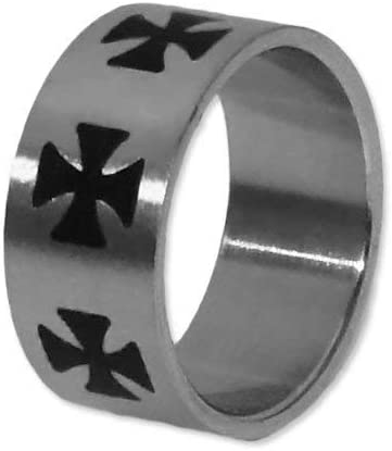 Anillo de cruz de hierro EK Iron Cross acero inoxidable, tamaño: 17 mm