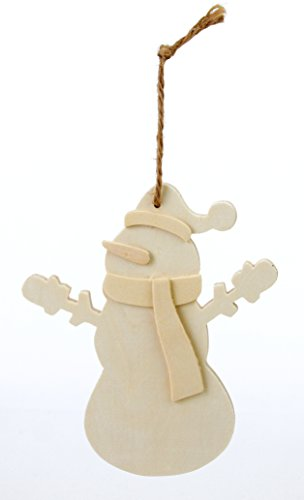 (Creative Hobbies Large Unfinished Dimensional Wood Snowman Ornaments w/Jute Hanger, 3 Pack)