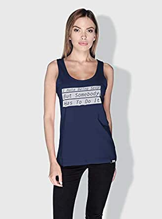 Creo I Hate Being Sexy Funny Tanks Tops For Women - L, Blue