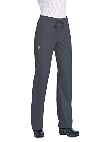 (Orange Standard Men's Huntington Unisex Scrub Pants with Drawstring Waist, Charcoal Small/Short)