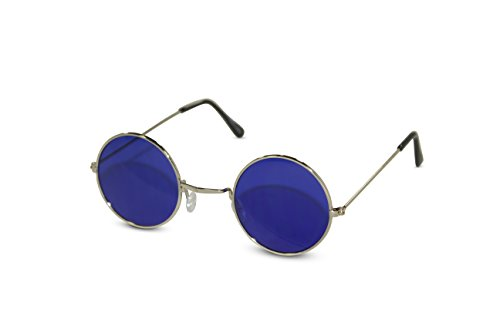 John Lennon Sunglasses Round Hippie Shades Retro Colored Lenses Retro Party (Silver frame w/ Blue - John Shades Lennon