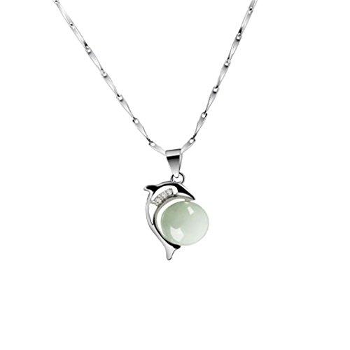 SunniMix Genuine Jade Stone Fine Jewelry Dolphin Animal Pendant 925 Sterling Silver (Jade Pendant Dolphin)