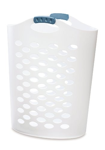 White laundry hamper with a blue, glazed handle.
