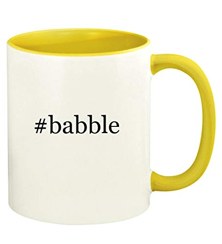 #babble - 11oz Hashtag Ceramic Colored Handle and Inside Coffee Mug Cup, Yellow