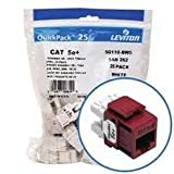 Leviton 5G110-BR5 Category 5e Plus QuickPort Snap-In Connector - Dark Red
