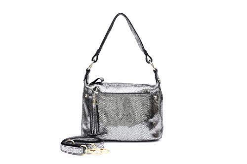 REAL LEATHER Shiny Embossed Shoulder H bags Metallic Bags Silver
