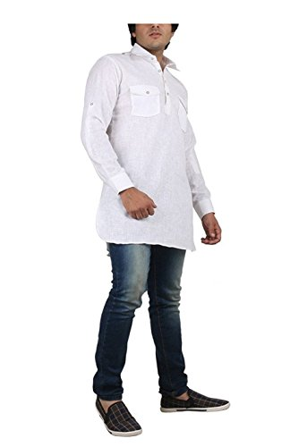 Royal Kurta Men's Fine Cotton Short Pathani Kurta For Denims 38 White by Royal Kurta (Image #3)