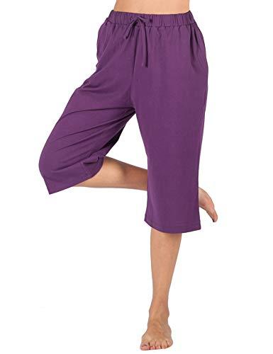 WEWINK CUKOO 100% Cotton Women Pajama Capri Pants Lounge Pants with Pockets Sleepwear (XL=US 16-18, Purple)