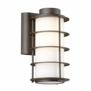 Forecast Lighting F8497-68 Hollywood Hills One-Light Exterior Wall Light with Etched White Opal Glass, Deep Bronze