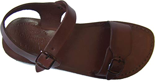 Holy Land Market Unisex Leather Biblical Sandals (Jesus - Yashua) Jerusalem Style II - 38 M EU Brown